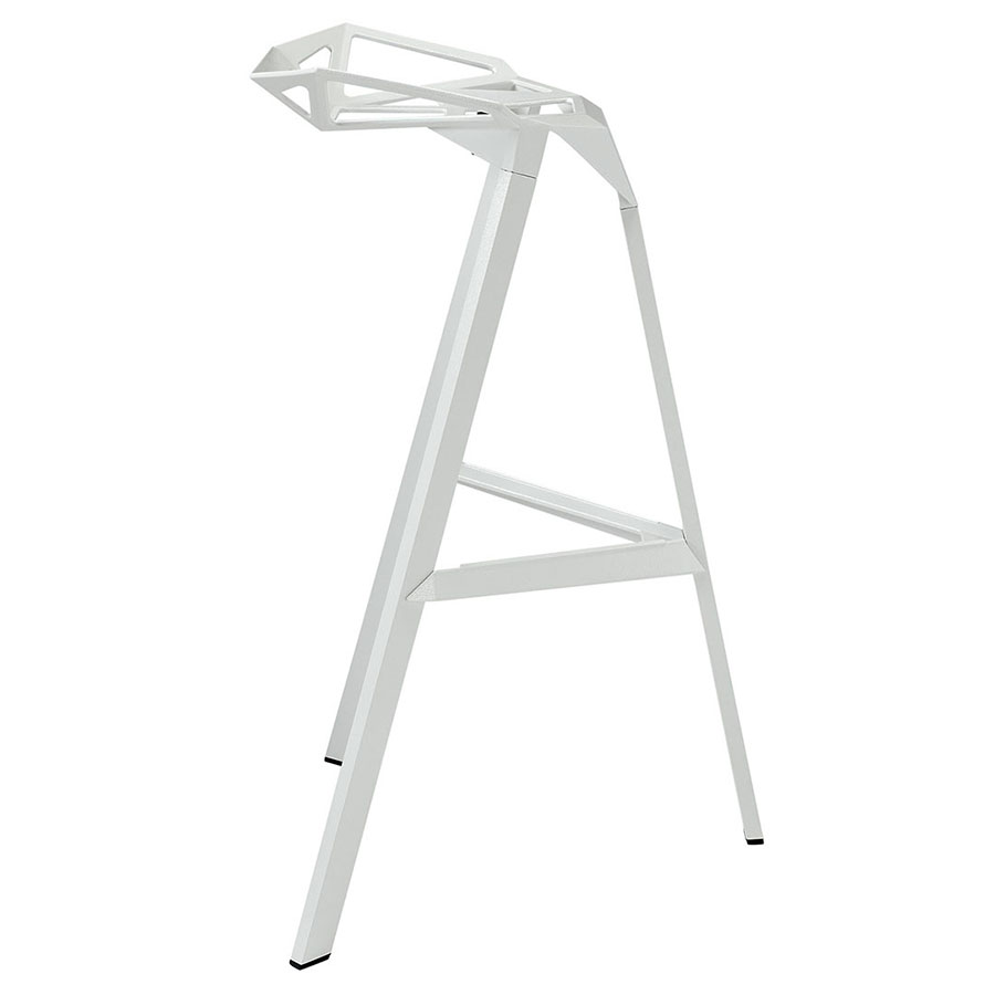 Laurel White Ultra Modern Indoor/Outdoor Bar Stool - Side View