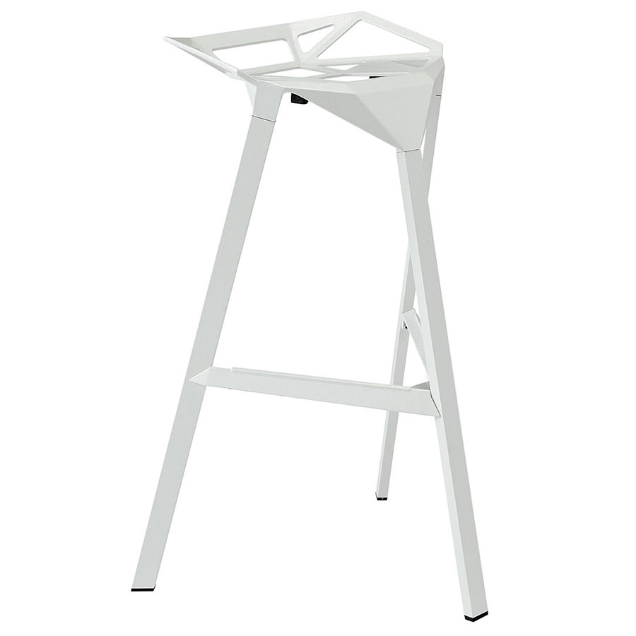 Laurel White Ultra Modern Indoor/Outdoor Bar Stool