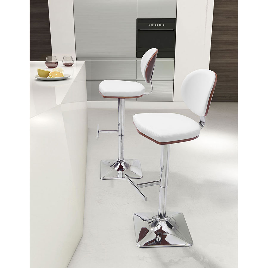 Lauritzen White Leatherette + Chrome Modern Adjustable Height Stool