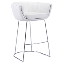 Leandra White Modern Bar Stool