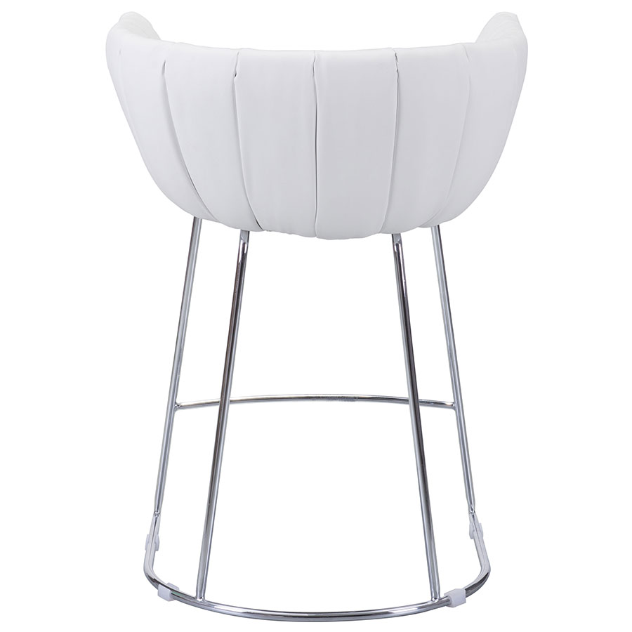Leandra White Leatherette Contemporary Counter Stool