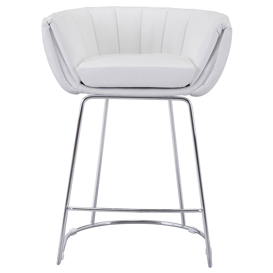 Leandra White Contemporary Counter Stool