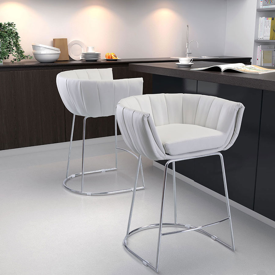 Leandra White Leatherette + Brushed Steel Modern Counter Height Chair