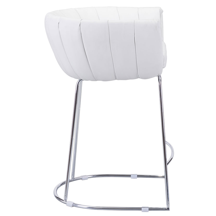 Leandra White Leatherette Modern Counter Stool