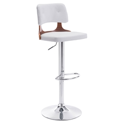 Leela White Modern Adjustable Stool