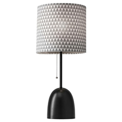 Leola Black Modern Chic Table Lamp With Black + White Printed Fabric Shade