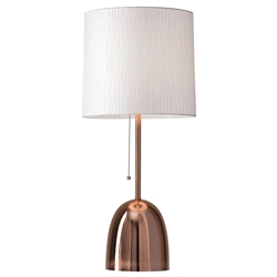 Leola Brushed Copper Modern Chic Table Lamp With Textured White Fabric Shade