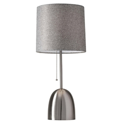 Leola Brushed Steel Modern Chic Table Lamp With Textured Gray Fabric Shade