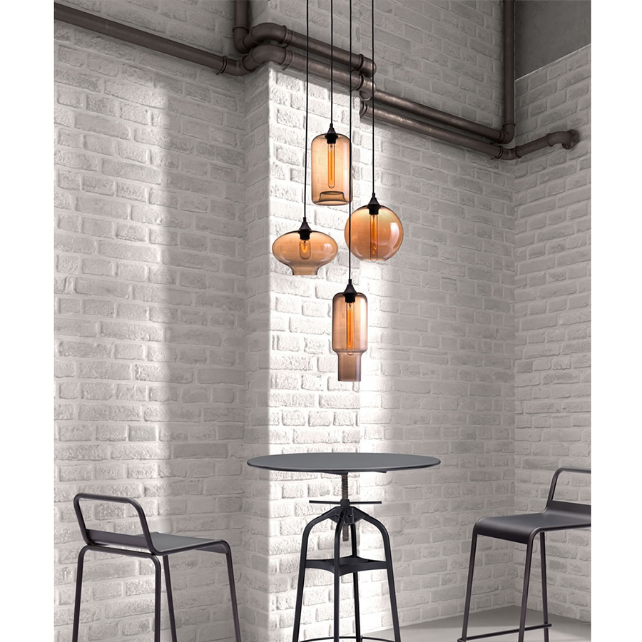 Leona Amber Glass Contemporary Hanging Lamps