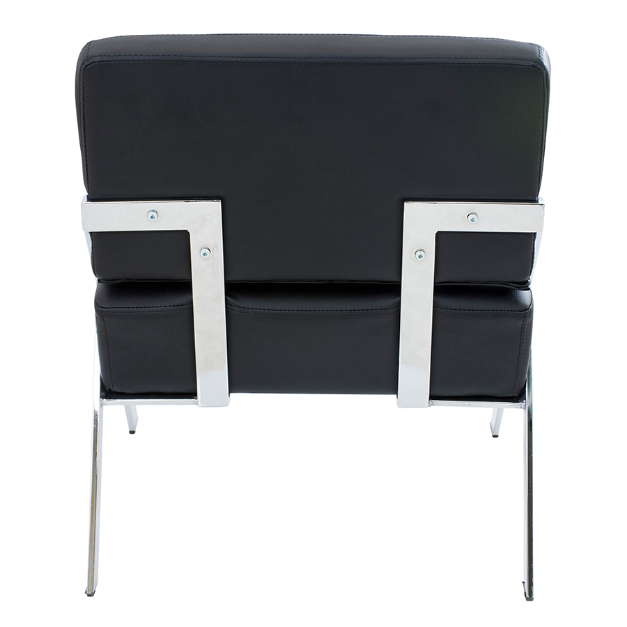 Leticia Black Leatherette + Chrome Modern Side Chair