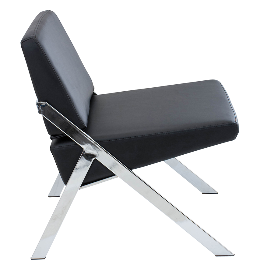 Leticia Black Leatherette + Chrome Modern Chair