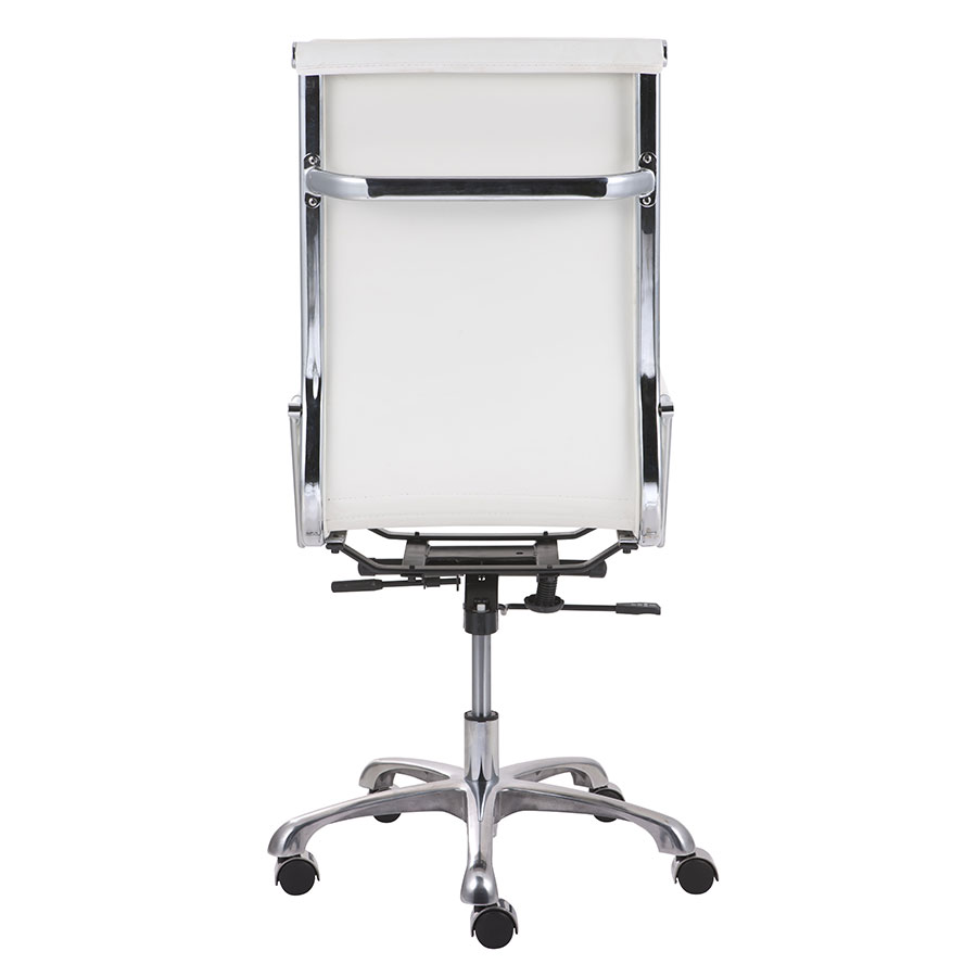 Lider Plus White High Back Leatherette + Chrome Modern Office Chair