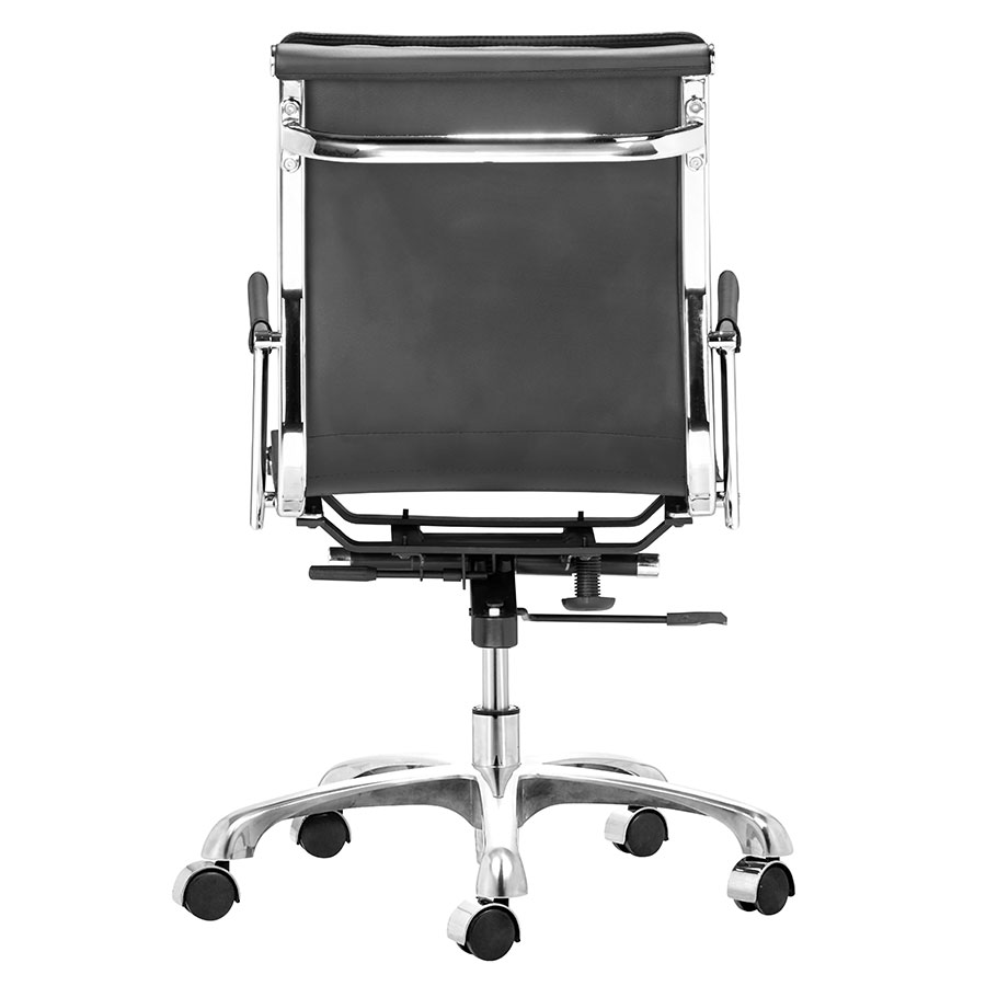 Lider Plus Black Leatherette + Chrome Contemporary Office Chair