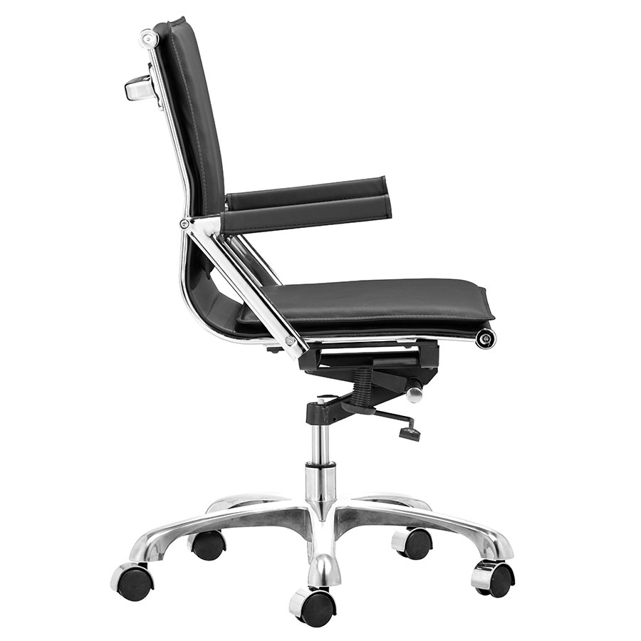 Lider Plus Black Leatherette + Chrome Modern Office Chair
