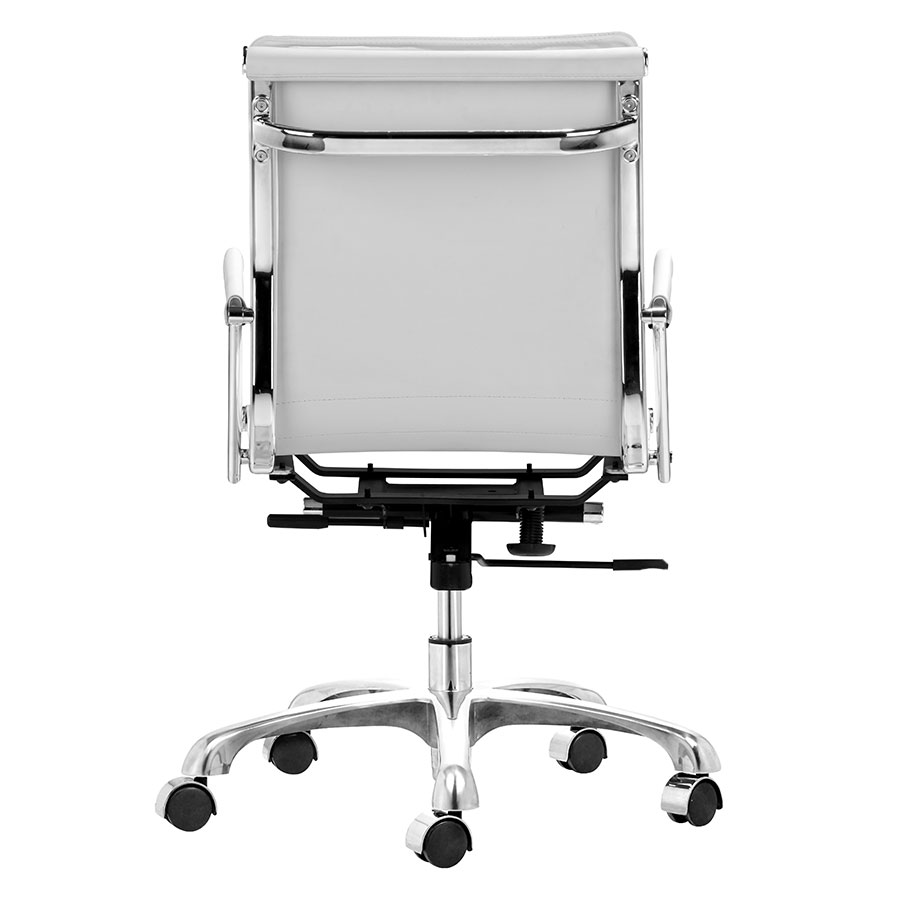 Lider Plus White Leatherette + Chrome Contemporary Office Chair