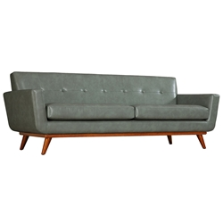 Lila Gray Faux Leather Modern European Sofa