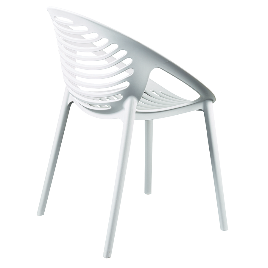 Lima White Polypropylene Contemporary Stacking Arm Chair