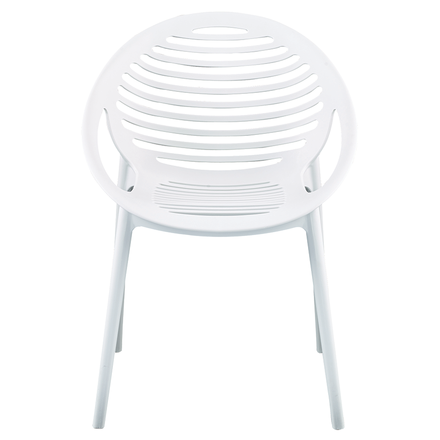 Lima White Contemporary Stacking Arm Chair