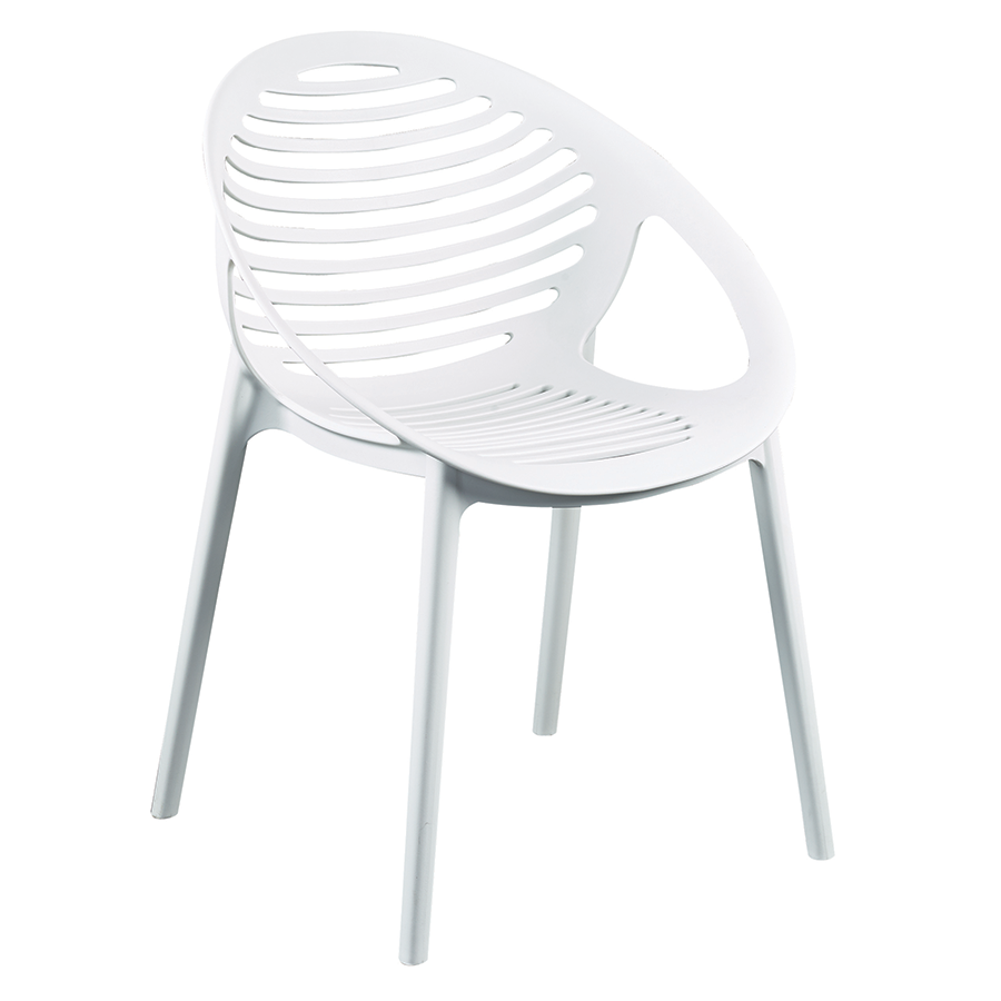 Lima White Modern Stacking Arm Chair