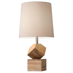 Linus Natural Rubberwood Base Contemporary Table Lamp With Beige Linen Shade
