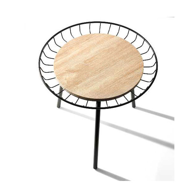 Lola Contemporary Wood + Black Metal End Table