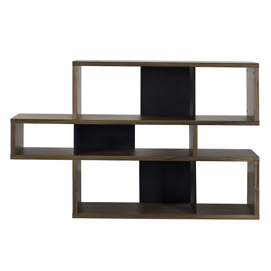 London Walnut + Black Contemporary Bookcase