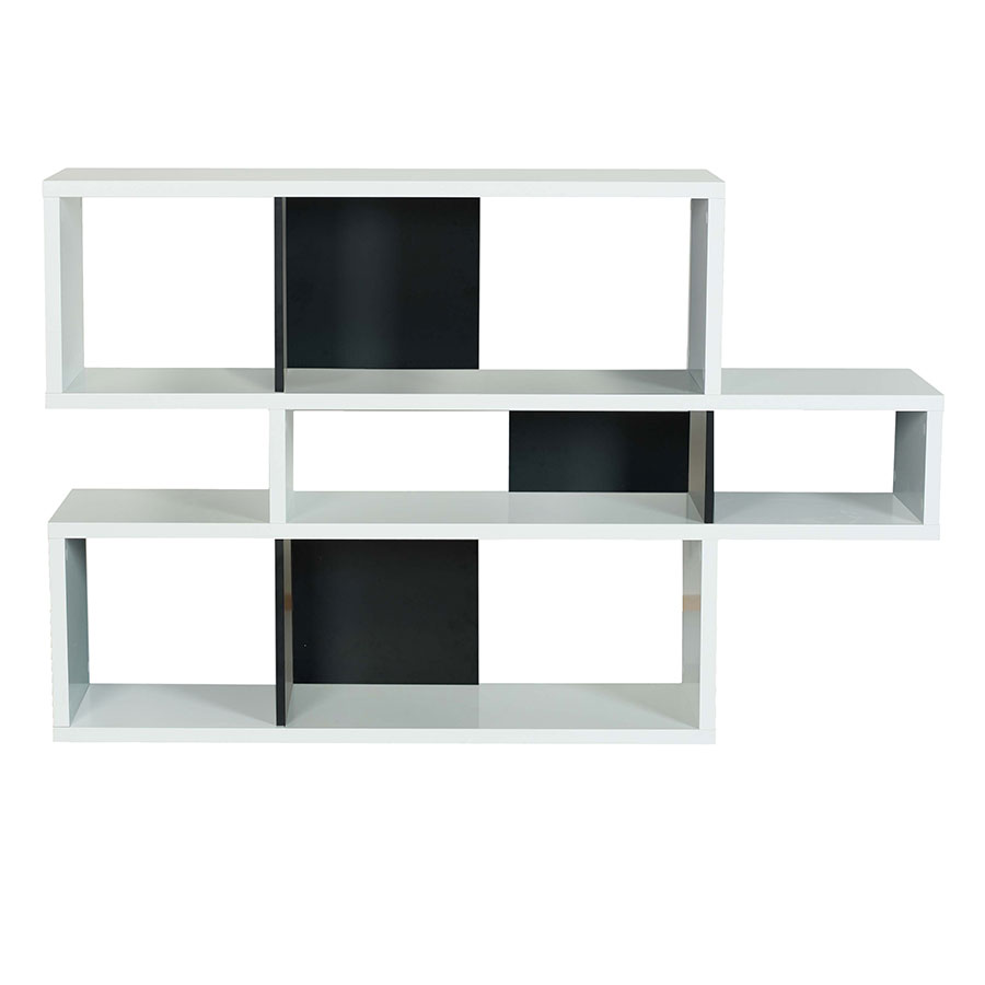 London White + Black Contemporary Bookcase