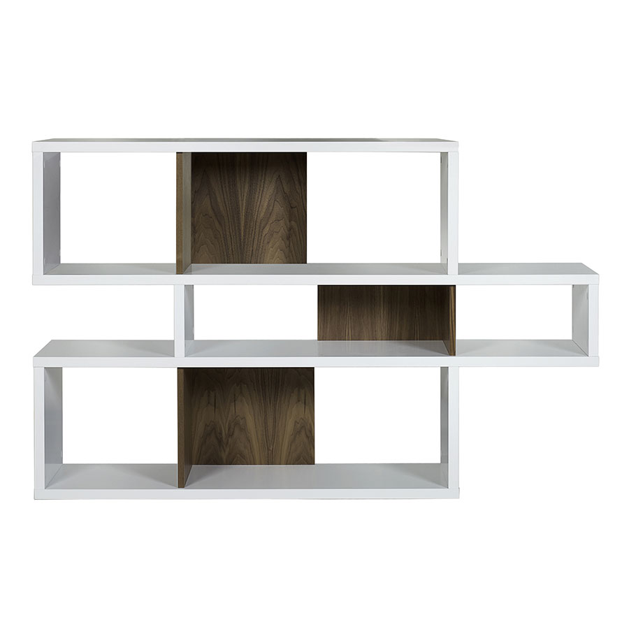 London White + Walnut Contemporary Bookcase