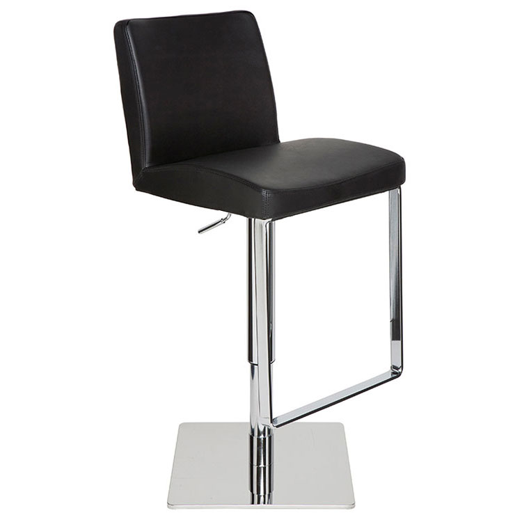 Maastrict Modern Black Adjustable Leather Stool