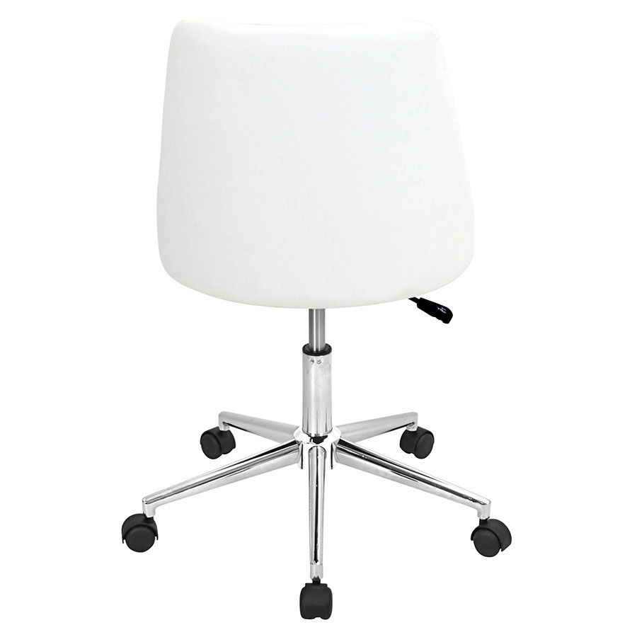 Mackenzie White Diamond Tufted Leatherette Modern Office Chair