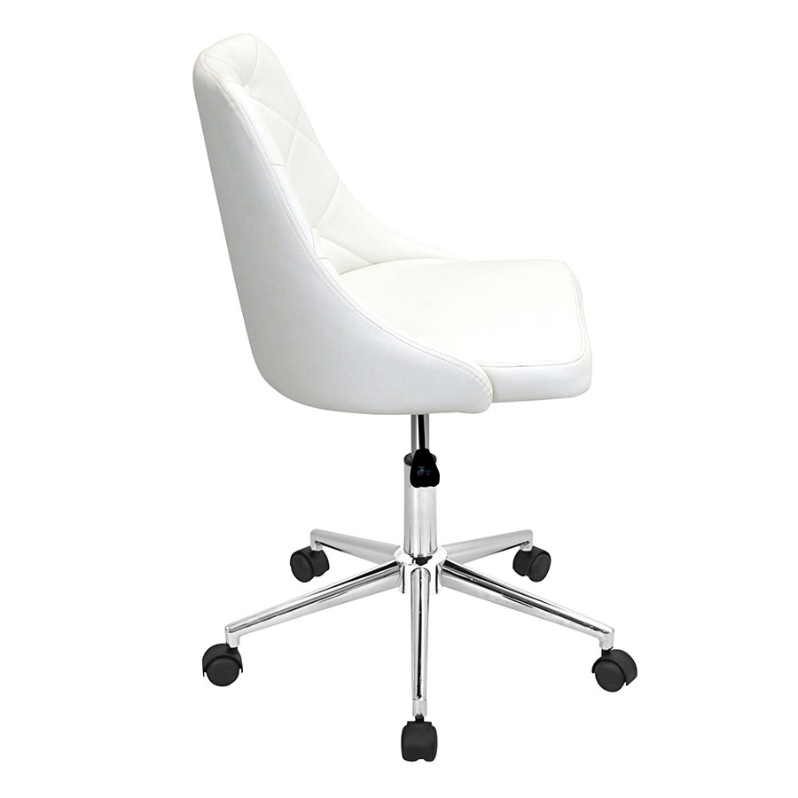 Mackenzie White Leatherette Modern Office Chair