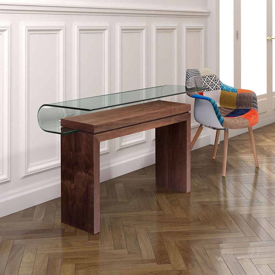 Madge Walnut + Glass Modern Console Table