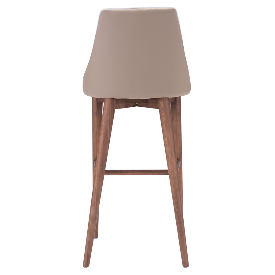 Madock Beige Leatherette + Walnut Modern Bar Stool