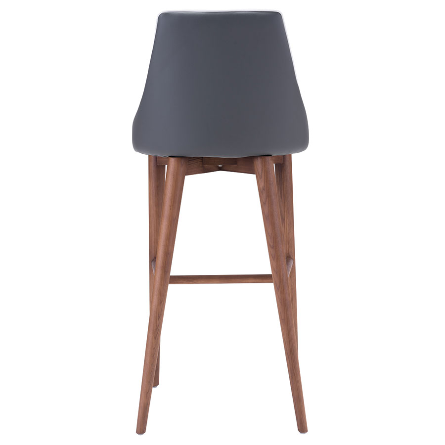 Madock Gray Leatherette Contemporary Bar Stool