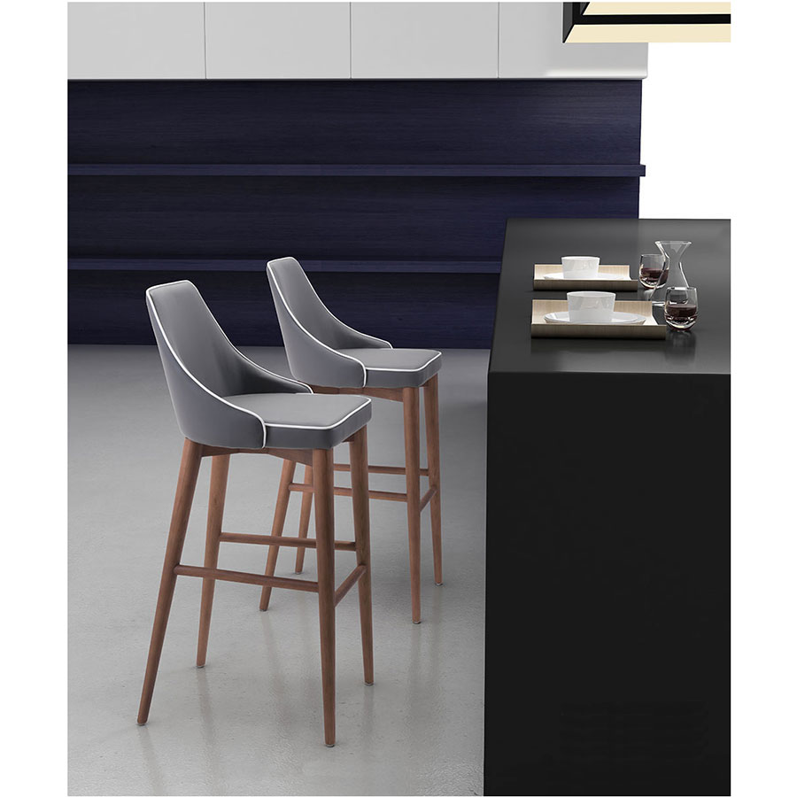 Madock Gray Leatherette + Walnut Modern Bar Height Chair