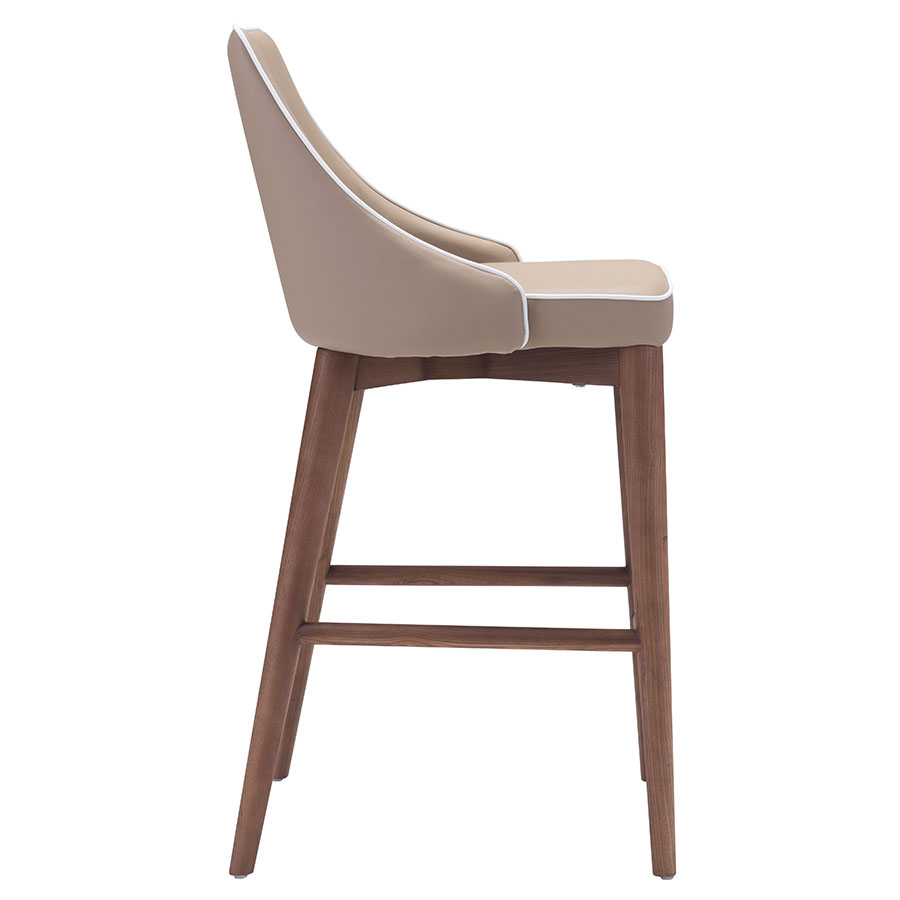 Madock Beige Leatherette Modern Counter Stool