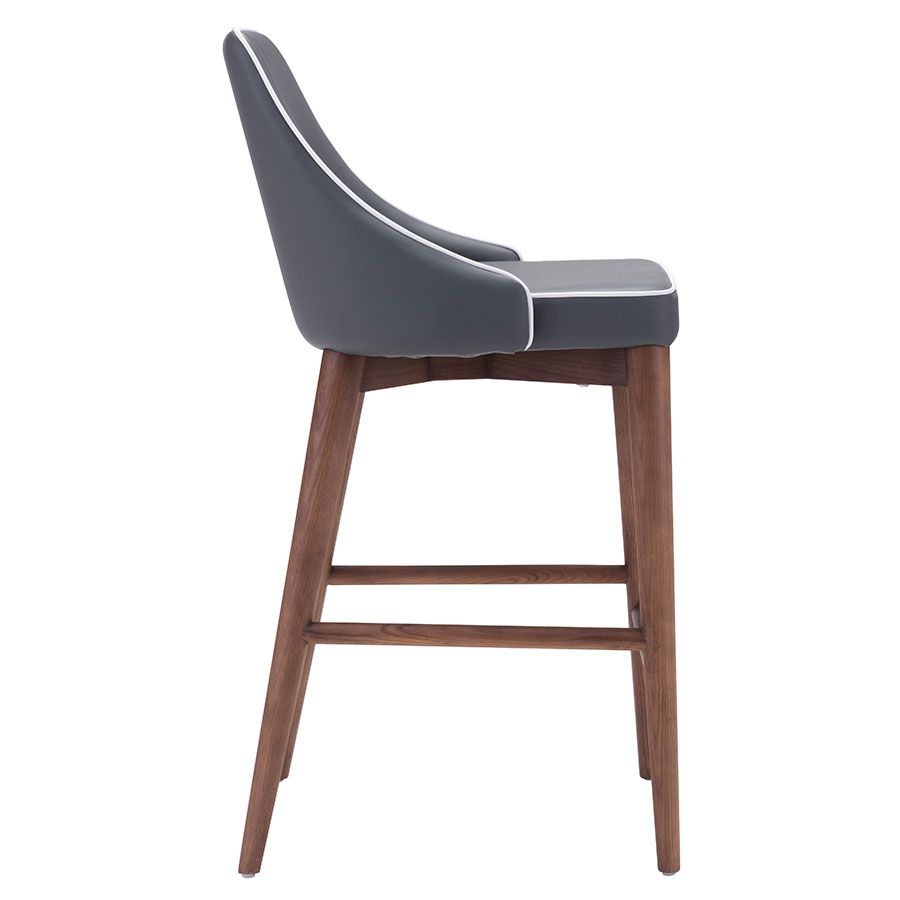 Madock Gray Leatherette Modern Counter Stool