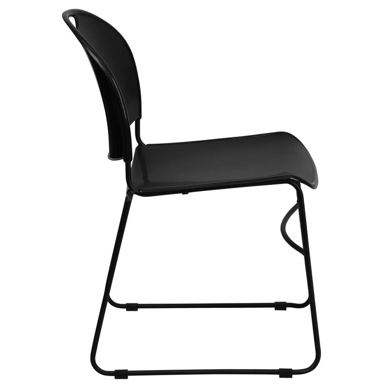 Magnus Black Stacking Chair - Side