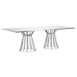Maine Modern Rectangular Glass Dining Table