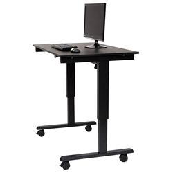 Malibu 48 Inch Modern Stand-Up Desk - Black + Black Oak Top