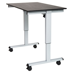 Malibu 48 Inch Modern Stand-Up Desk - Silver + Black Oak Top