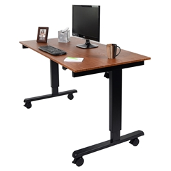 Malibu 60 In. Modern Stand Up Desk - Black + Teak