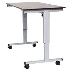Malibu 60 In. Modern Stand Up Desk - Silver + Dark Walnut