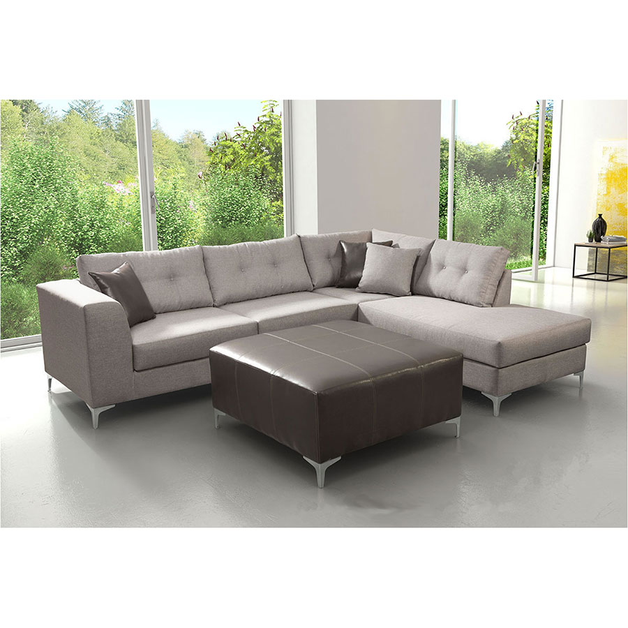 Malik Right Hand Gray Fabric Modern Sectional