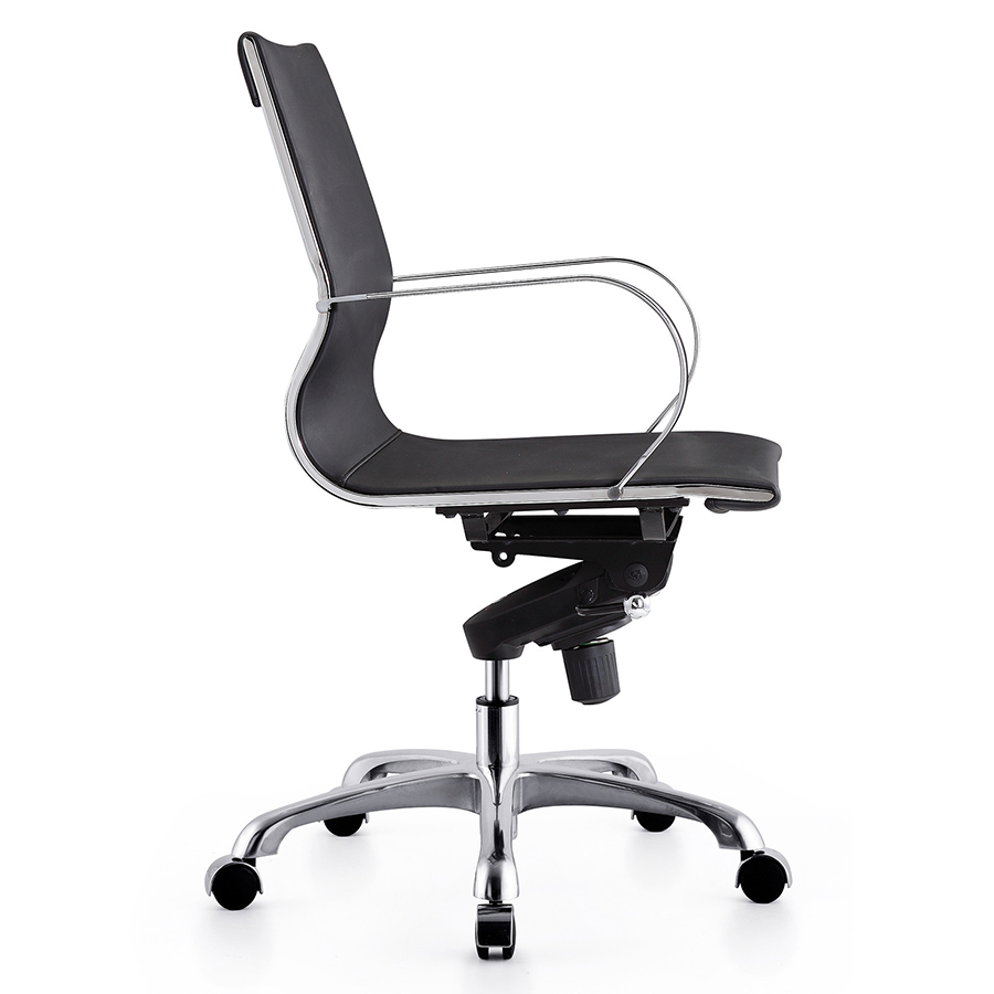 Malone Black + Polished Metal Modern Office Chair