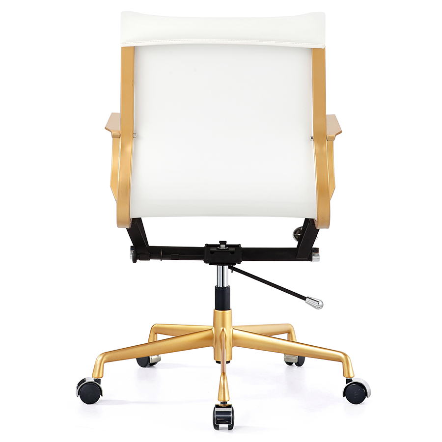 Malone Gold Metal + White Leatherette Contemporary Office Chair