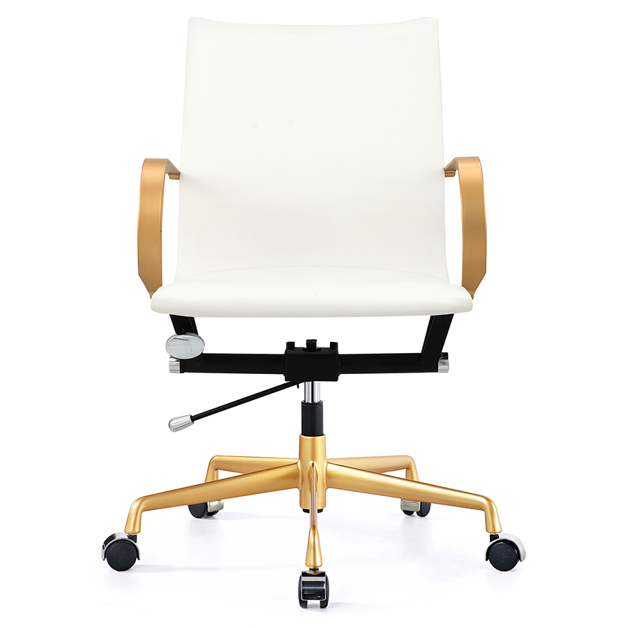 Malone Gold + White Contemporary Office Chair