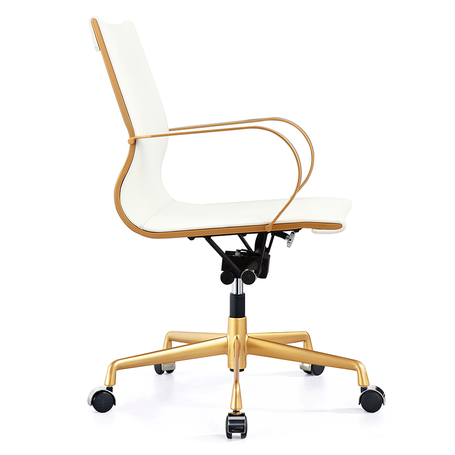 Malone Gold Metal + White Leatherette Modern Office Chair