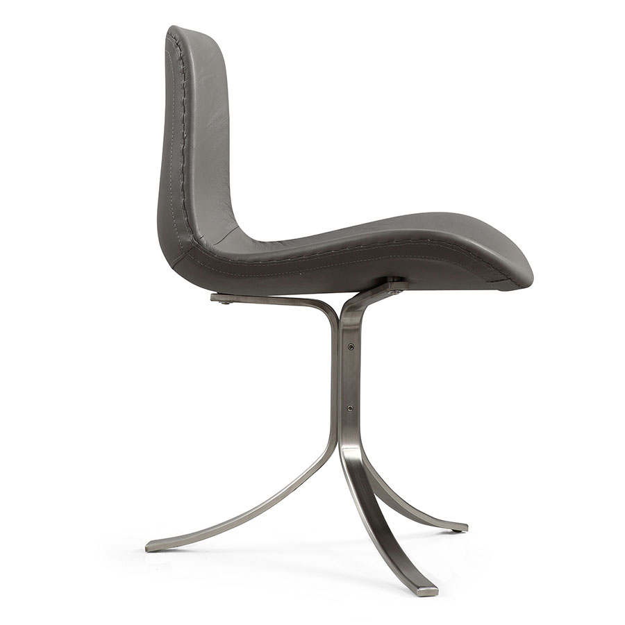 Marcela Modern Gray Italian Leather Accent Chair