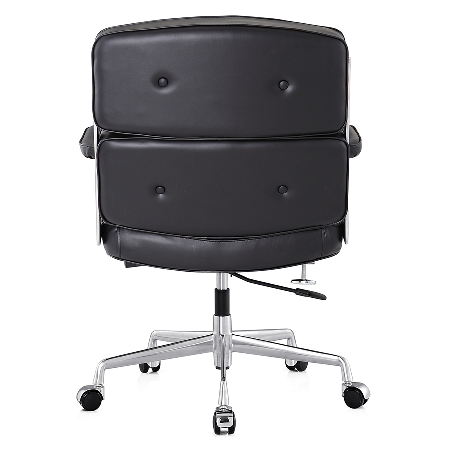 Maren Black Leather + Polished Metal Contemporary Office Chair